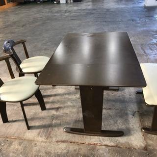 伸長式ダイニングセット テーブル チェア 4点セット