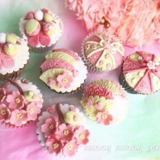 【春レッスン】お花見気分でシュマロフォンダントデコカップケーキ&パン♪