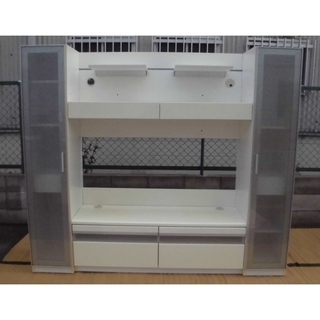 ★組立必要★とても大きなテレビ台 収納付き ホワイト 210x4...
