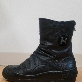 本革 H 黒 ブーツ ぺたんこ 高級