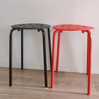 IKEA イケア Marius スツール 黒&赤 2脚