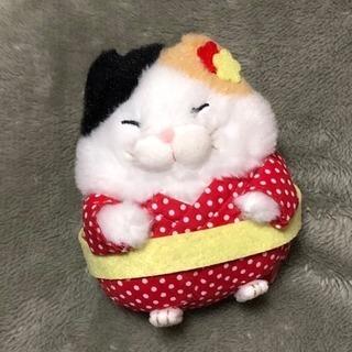 ひげまんじゅう 着物猫 三毛猫 マスコットキーホルダー