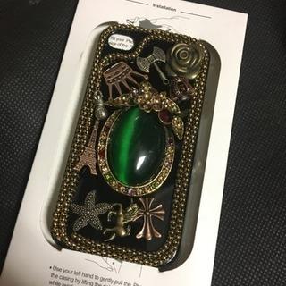新品 iPhone4/4sケース  ゴージャスなデコケース BK 06
