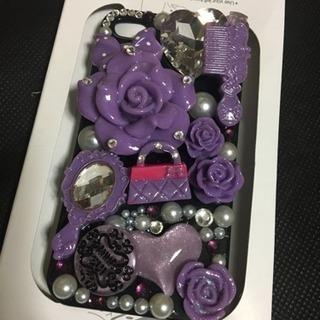 新品フラワーデコ電 iPhone4/4sハードケース PU 07