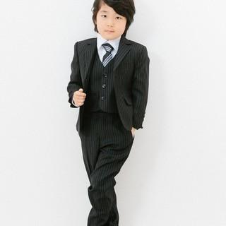 子供用スーツ5点セット(黒ストライプ)
