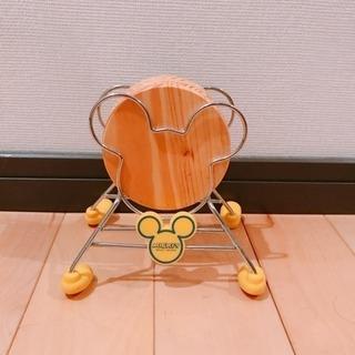 【未使用新品】ミッキーマウスのコースター4枚&スタンドセット