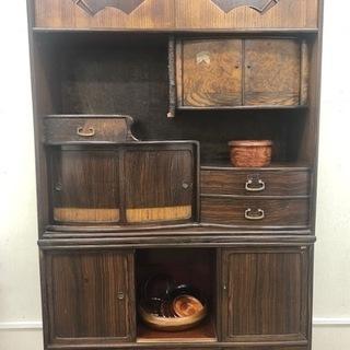 古民家風 レトロ 茶箪笥 古家具 木製 分割可能 和家具 当時物