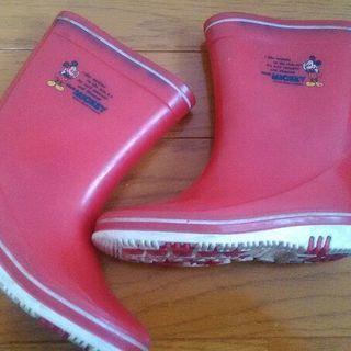 長靴 赤 ミッキー 18cm