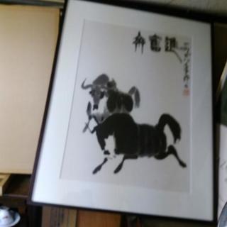 中国美術、墨絵画、版画、呉作人〔牛の図〕