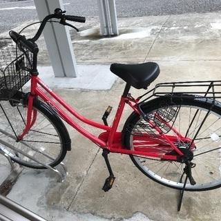 自転車 ママチャリ 通勤通学用 赤
