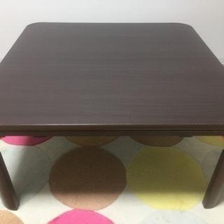 正方形フラットヒーター脚折れこたつ、省スペース上掛けつき◎ローテーブル