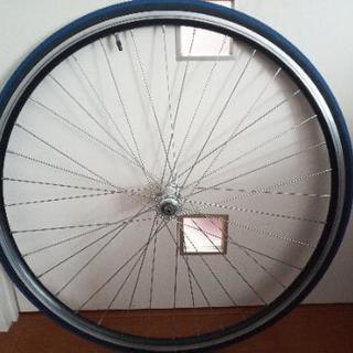 自転車のホイールタイヤ 7速スプロケット付き【ジャンク】 前後セット