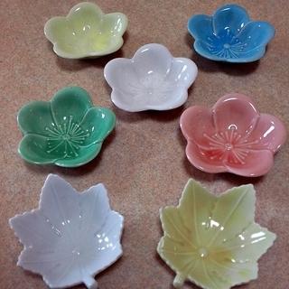 【100円】薬味皿 醤油皿 珍味 梅 紅葉 小皿のセット