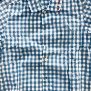 ミキハウス 青チェック半袖シャツ サイズ100 ✨美品✨