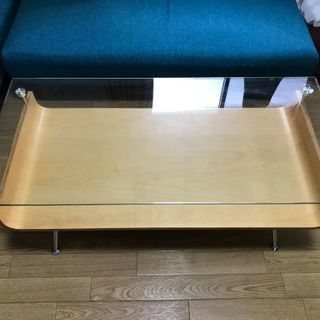 【値下げ!・美品】ガラス天板 ローテーブル