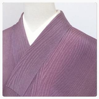 特選 作家物 美品 極上 正絹 小紋 縦暈し 古代紫 縞小紋 木目模様