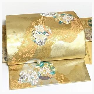 美品 極上 正絹 金彩 丸華紋 袋 二重太鼓 作り帯 二部式 中古品