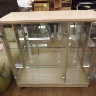 飾り棚 コレクションケース ガラス キャスター付 幅:90cm 札...