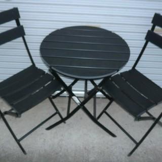 バルコニーセット ガーデンチェア・テーブルセット 椅子2脚 円卓◆...