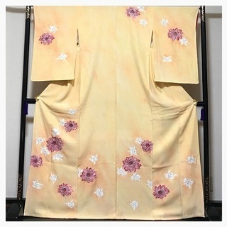 極上 三越謹製 華紋様 上質 正絹 訪問着 イエロークリーム 中古品