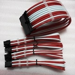 PC電源ユニット延長スリーブケーブルセット スリーブガイド付き 赤/白