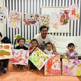 英語でアート!外国人とフィンガーペインティング体験!