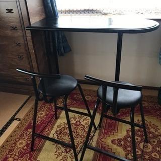 黒のカウンターテーブル&スツール2脚セット