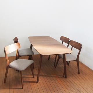 使用半年 伸縮式木製ダイニングテーブル エクステンション 椅子4脚...