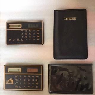 小さなソーラー電卓3台