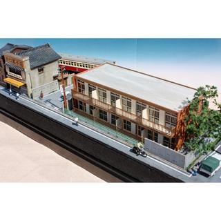 Nゲージ 「線路沿いのアパートと踏切」 ジオラマ完成品 模型 ジオコレ