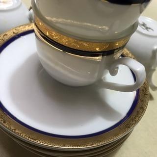 ホワイトチャイナ メイプルのコーヒーカップソーサー5個組