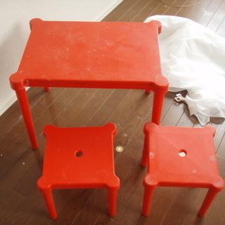 子供用テーブル、いす セット 赤色  硬質プラ製  訳あり家具