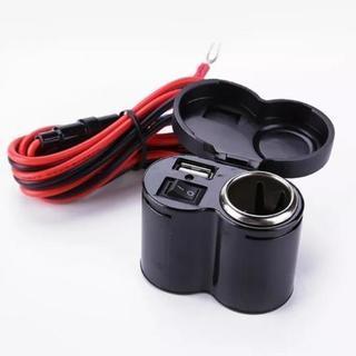 バイク用シガーソケット&USB1口 配線端子メインスイッチ付 防水