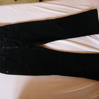 中古 大きめコーデュロイ黒パンツ