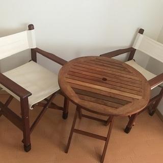 カフェテーブル3点セット(木製)