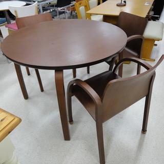 ダイニングテーブルセット 円卓4点 テーブル&イス3脚 木目/ブラ...