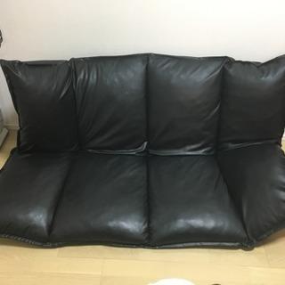 PVC 黒 フロアソファ 2人【引き取り限定】