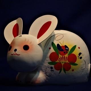 日本製 縁起物 招福うさぎ ウサギ 張り子の首ふり兎