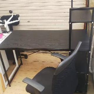 棚付き机 ひじ掛け付き椅子セット