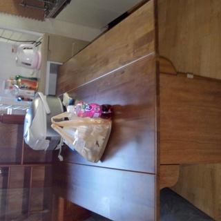 ダイニングテーブル 4人用 折り畳み式 収納あり