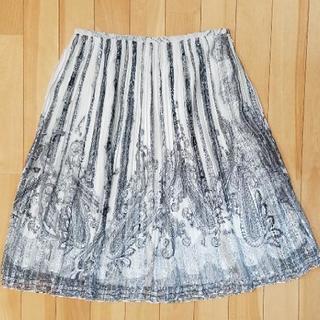 プリーツスカート きれいめ 白 グレー
