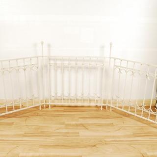 8572 金属製 白 柵 3連 ゲート フェンス 高さ96cm 幅...