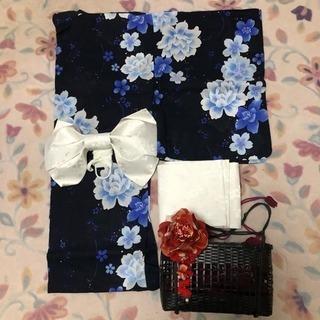 レディース浴衣、帯、籠バッグセット