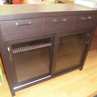 キッチン収納 レンジボード 引き出し付 棚付 木製 幅:105cm...