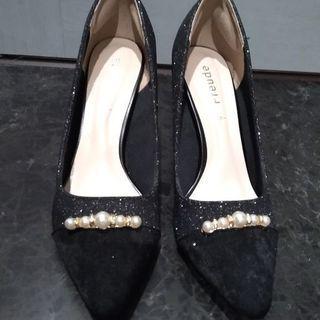 1度使用 結婚式 入学式等に パンプス 靴 ハイヒール 黒