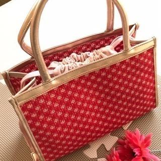 組曲 赤×ピンク ハンドバッグ