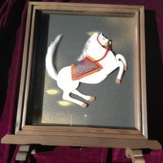 焼き杉 硯屏額❇️馬の押絵