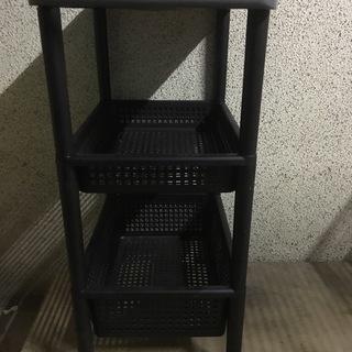 収納ラック プラスチック製 ブラック コマ付 幅48cm×奥行32...