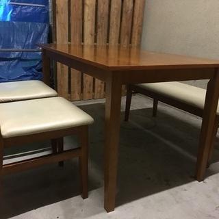 木製 ダイニングテーブル イス2脚 ベンチシートセット 幅120c...