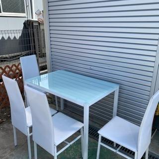 ガラスダイニングセット  椅子4脚 ホワイト